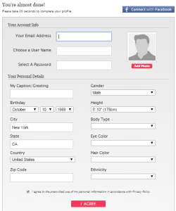 Starting with the first step of profile creation