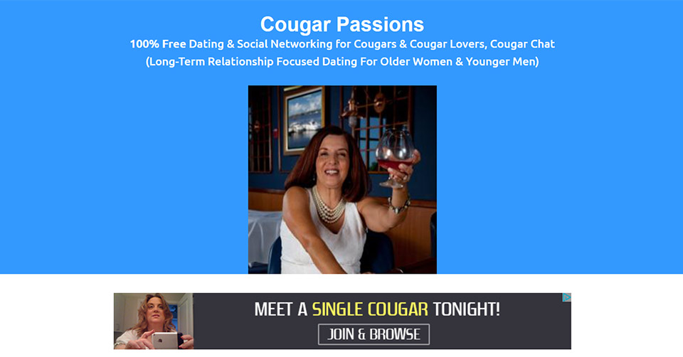 Cougar Passions landing page