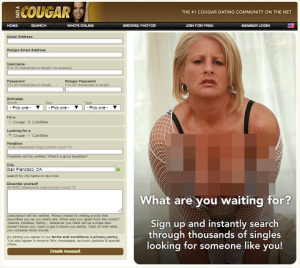 The front page of the supposed #1 of the older women dating sites