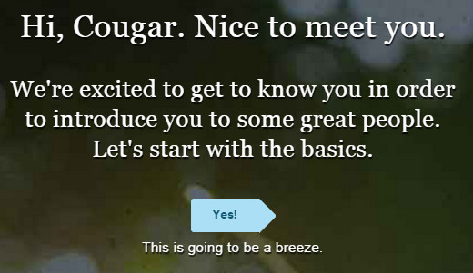 eHarmony the best cougar website starting screen
