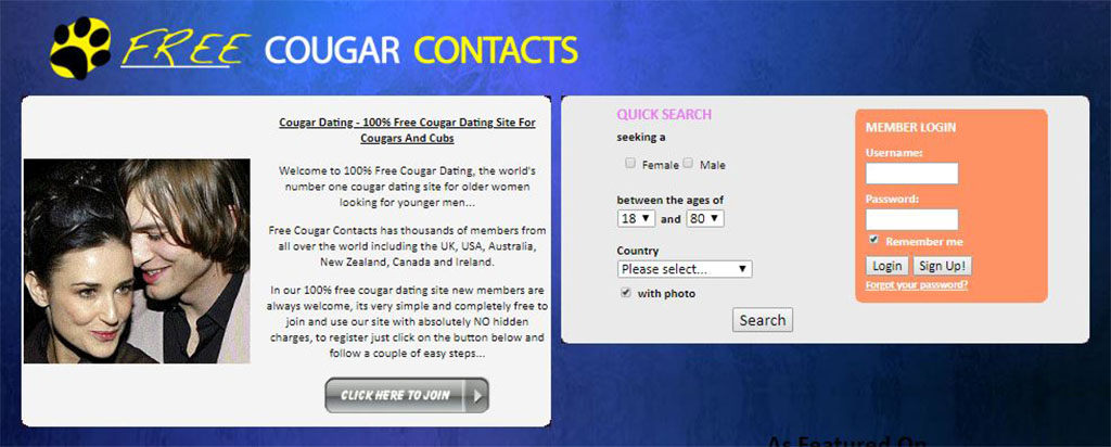 Homepage of our free cougar contacts review