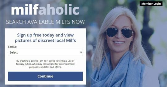 Homepage for our MIlfaholic.com review