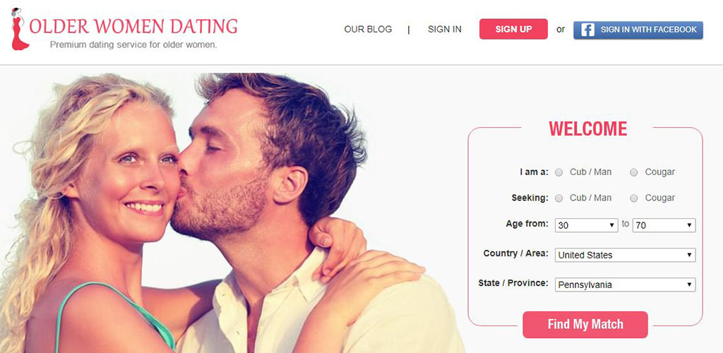 What the olderwomendating.com homepage looks like