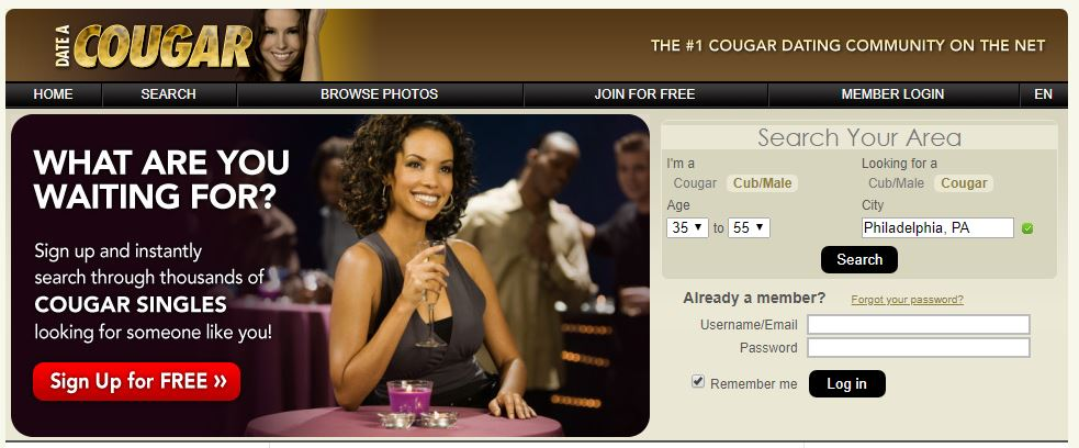 Homepage for our Date A Cougar review