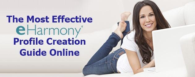 woman creating profile on eHarmony