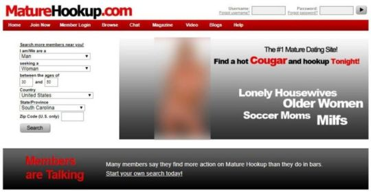 Homepage from our Mature Hookup review