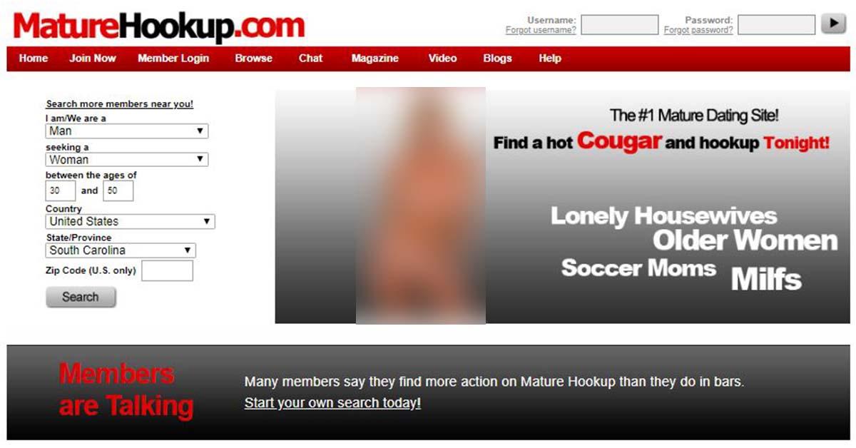 Homepage for Maturehookup.com