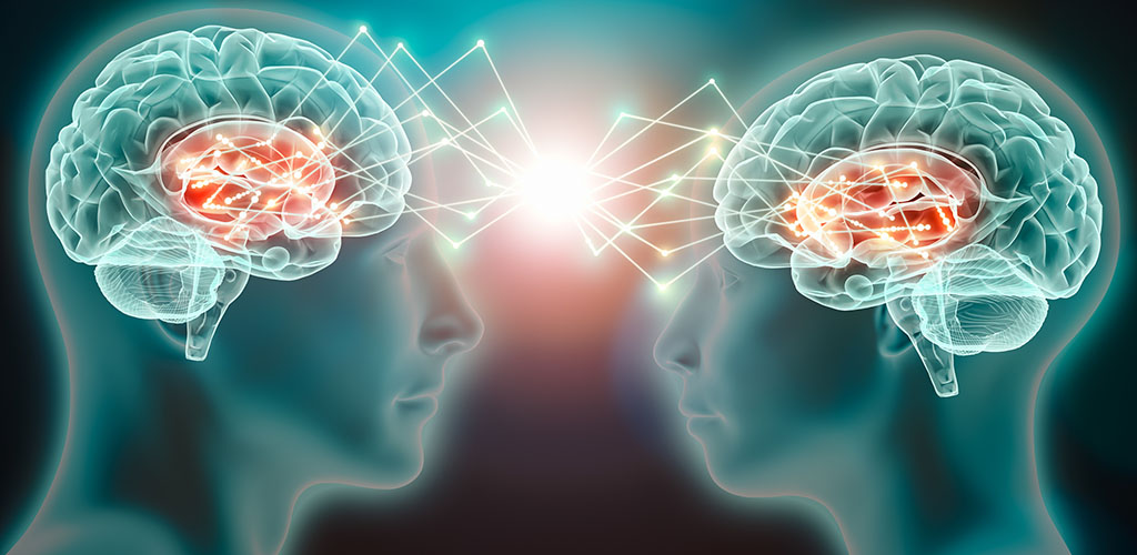 Love emotion or empathy cerebral or brain activity between two people