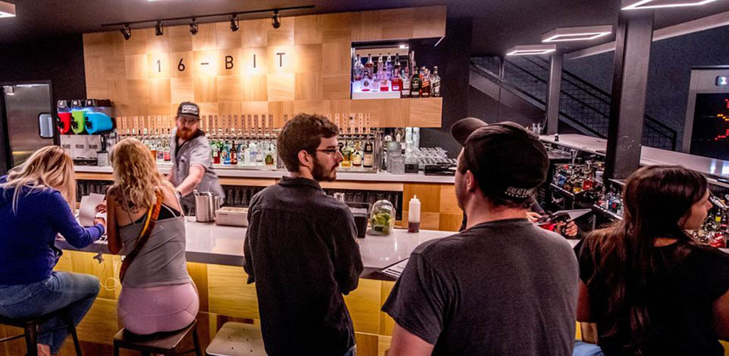 The bar at 16-Bit Bar+Arcade