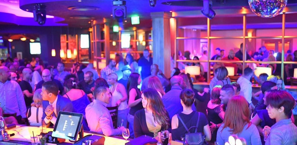 The packed crowd at Blue Martini Lounge