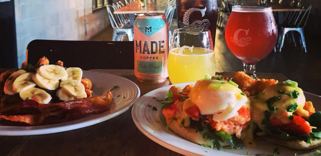 Breakfast dishes and drinks from Coppertail Brewing Co.
