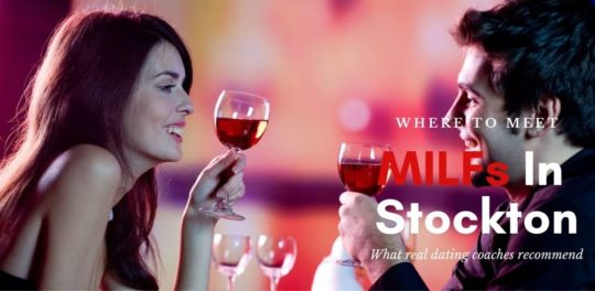 A Stockton MILF toasting red wine with her date