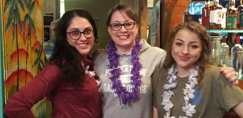 Wichita MILFs wearing leis at Oasis Lounge