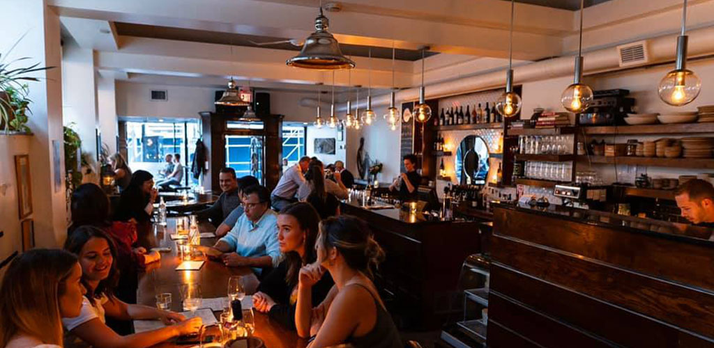 The dining area of Obladee Wine Bar