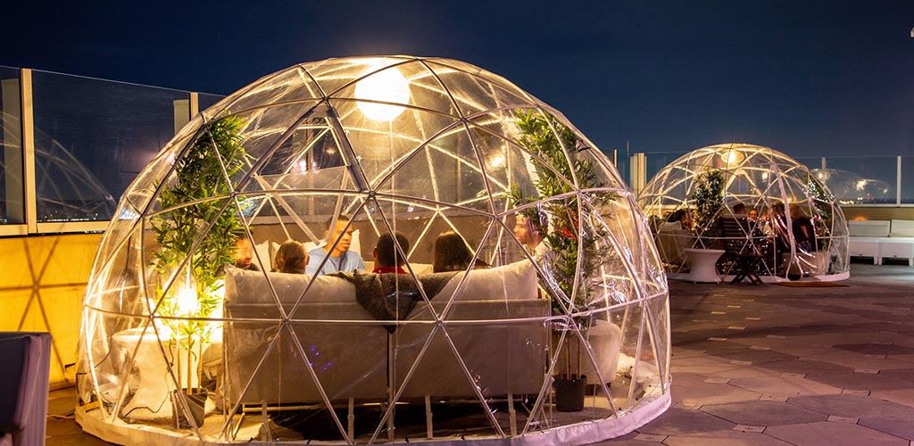 The little bubble hubs at Sky Bar at the Hilton Hotel