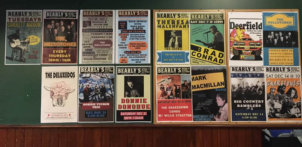 Band posters adorning the walls of Bearly's