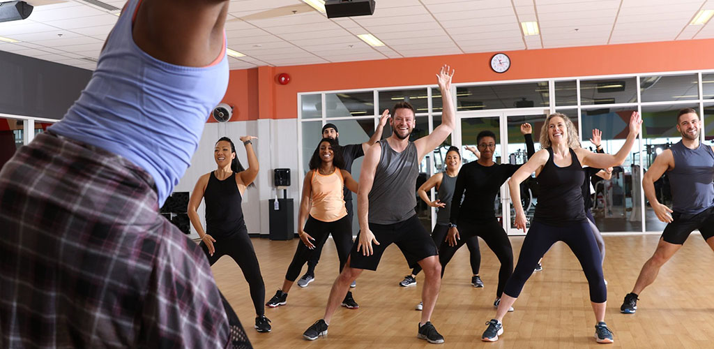 A workout class at Good Life Fitness