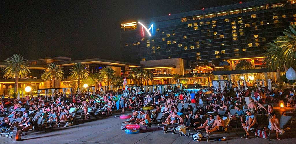 A huge crowd of people at M Resort Spa Casino