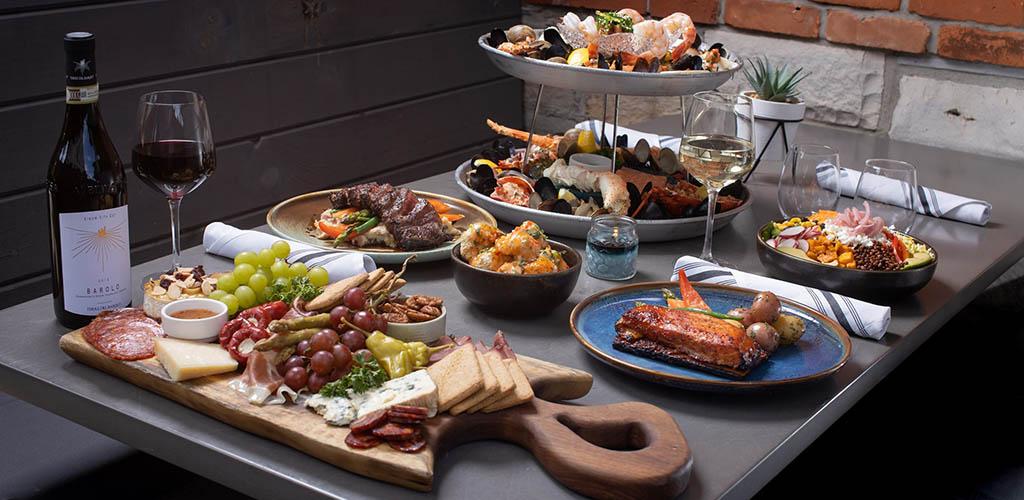 A full dinner spread from Radius