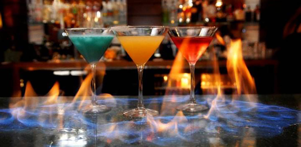 Cocktails on fire at Ave on the Mile