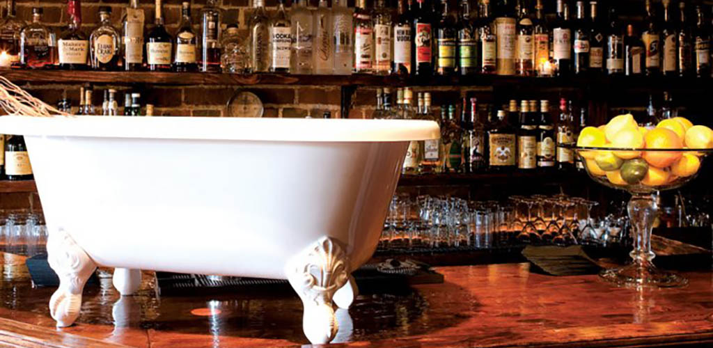 The quirky decor at Bathtub Gin & Co.