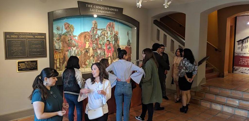 Women admiring the artwork at Centennial Museum and Gardens