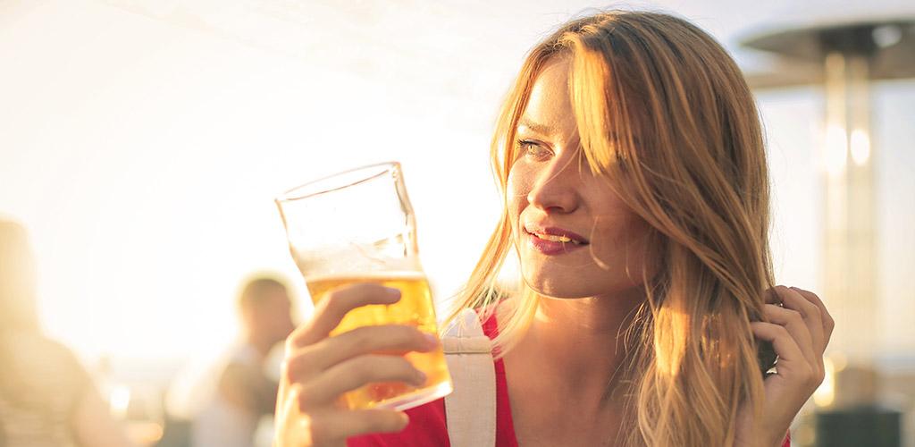 Beautiful blonde at a beer garden