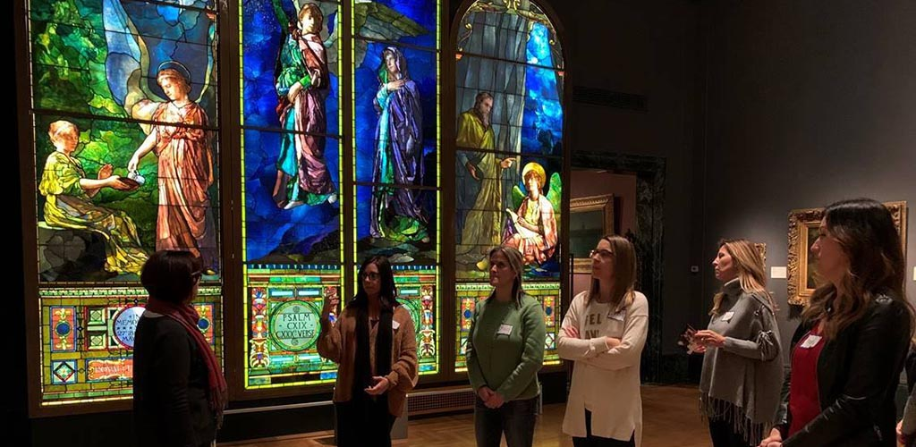 Ladies at the stained glass exhibit at Detroit Institute of Arts