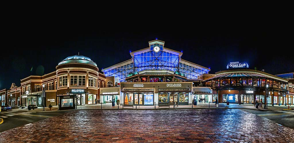 Easton Town Center fully lit in the evening