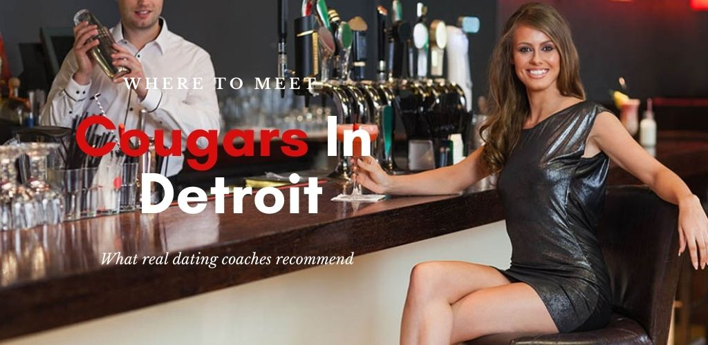 A sexy, well-dressed cougar in Detroit at an upscale bar