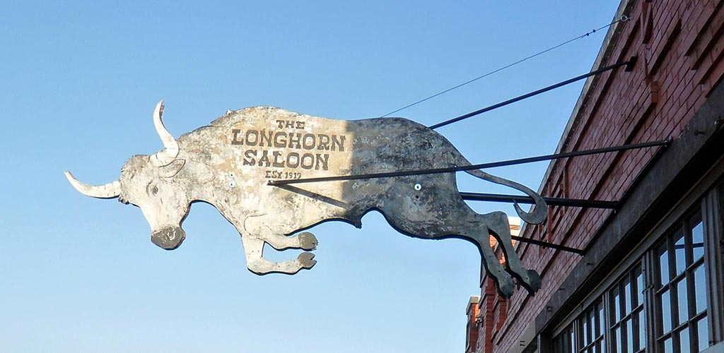 The vintage sign of Lil Red's Longhorn