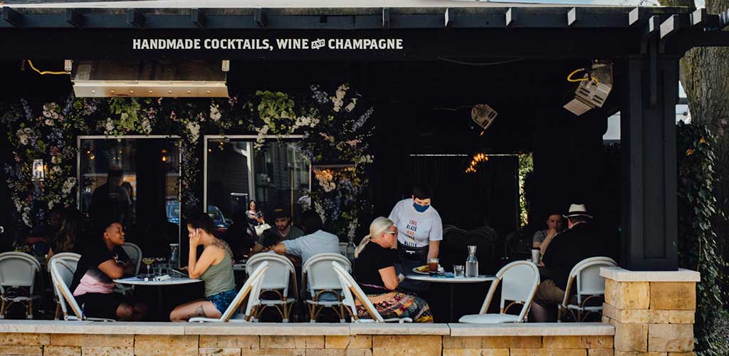 The patio of Petite Chou Bistro and Champagne Bar