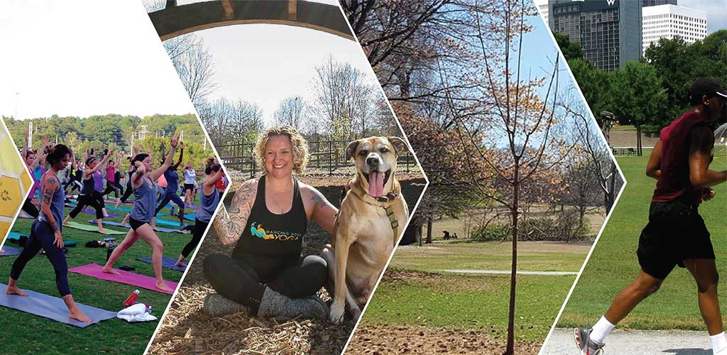 A collage of different activities you can do at the Piedmont Park Dog Park