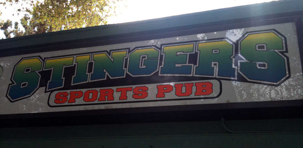 The signage of Stingers Sports Pub