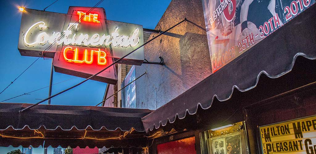 The neon Continental Club sign