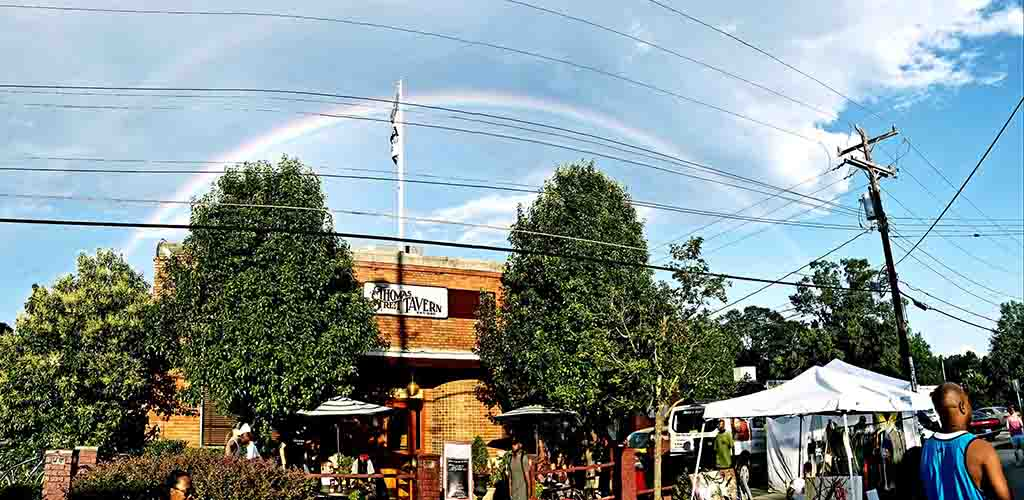 A rainbow over Thomas Street Tavern