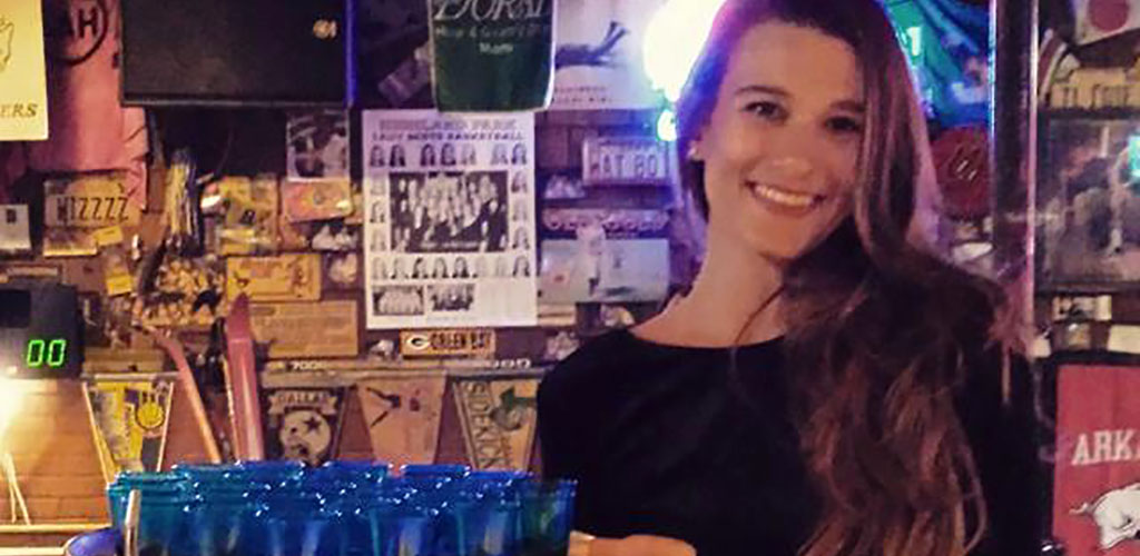 The beautiful bartender at Time Out Tavern
