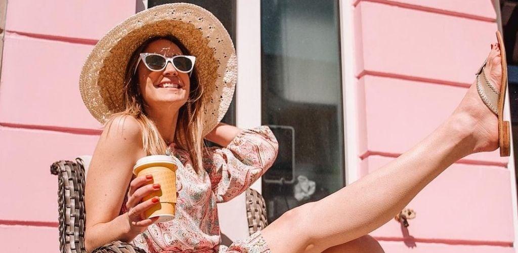 A Raleigh MILF holding her coffee outside Jubala Coffee