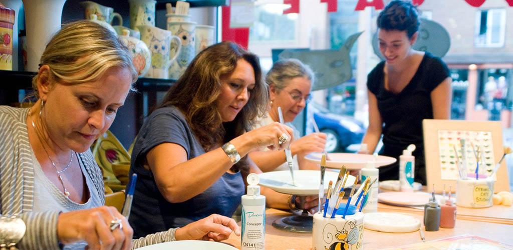 Mature women taking a ceramics class at Ceramic Cafe