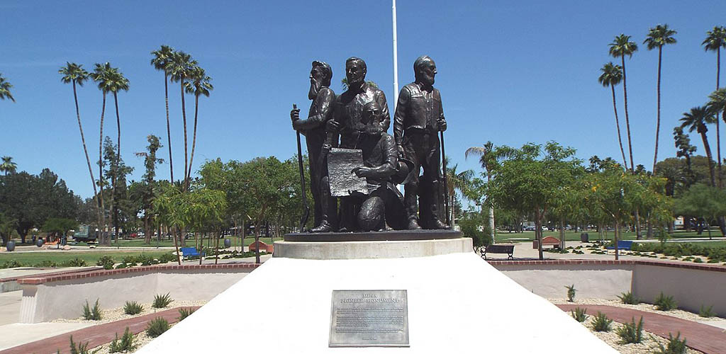 The iconic monument at Pioneer Park