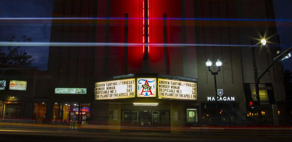 The Arlington Cinema and Drafthouse at night