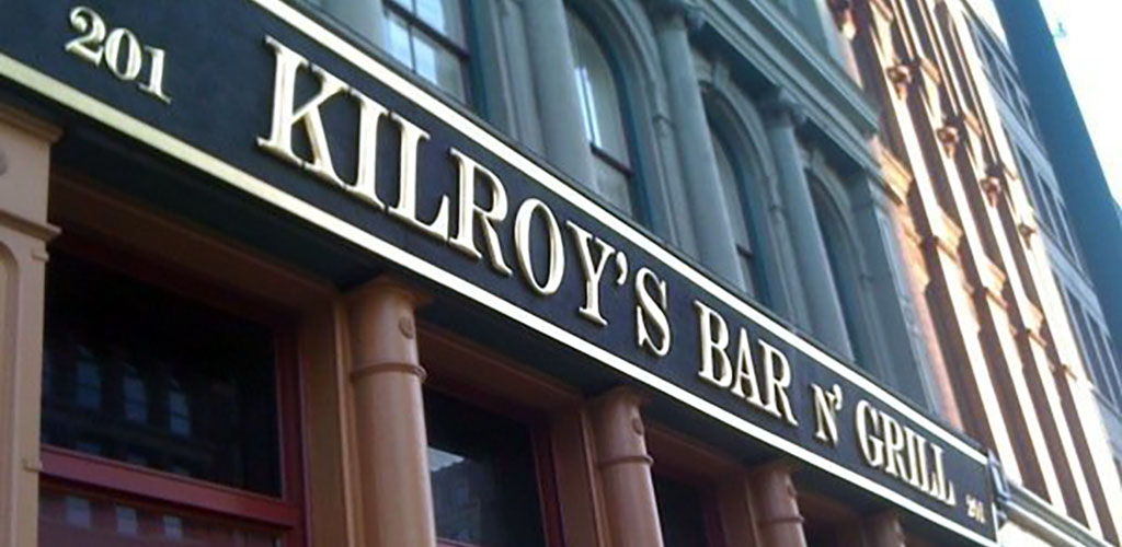 The signage of Kilroy Bar N' Grill