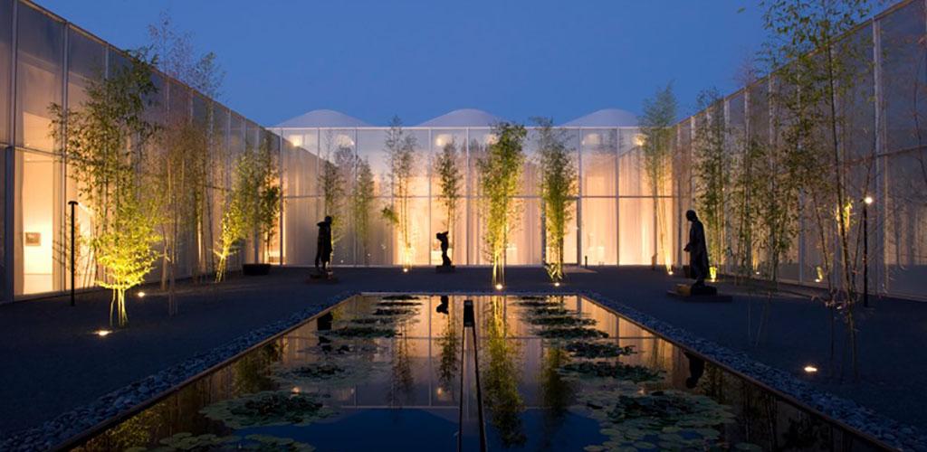 The beautiful mini-pond at the North Carolina Museum of Art at night