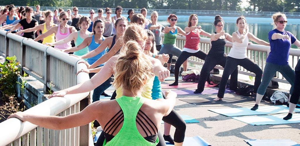 Women exercising at Highland Park