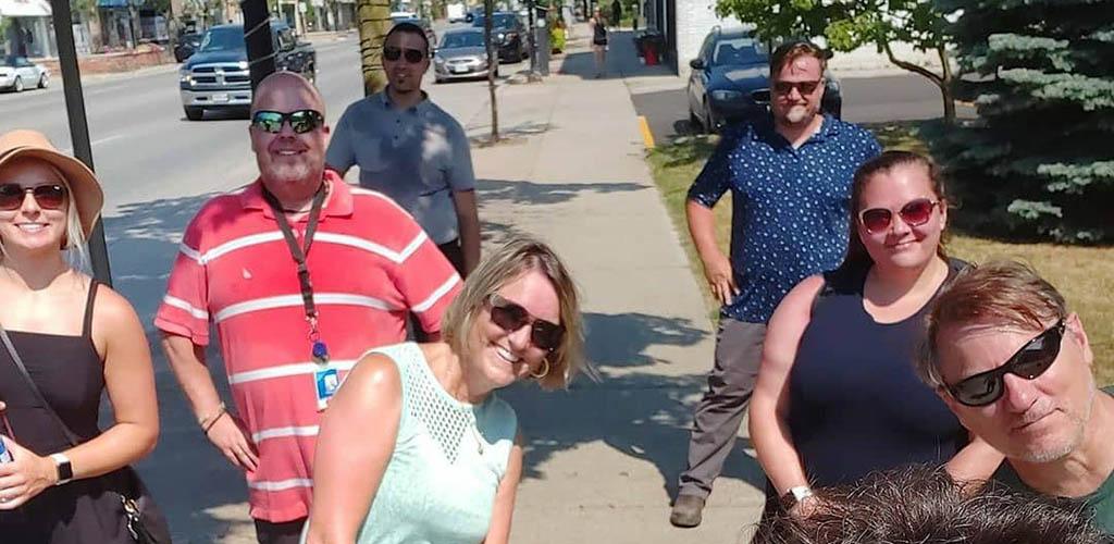 Friends walking around Port Credit