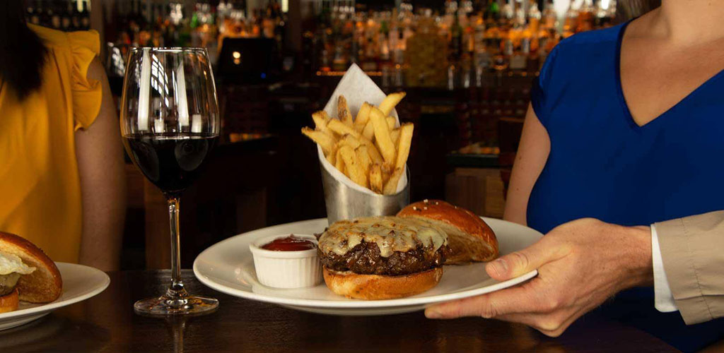 Burger and fries from The Capital Grille