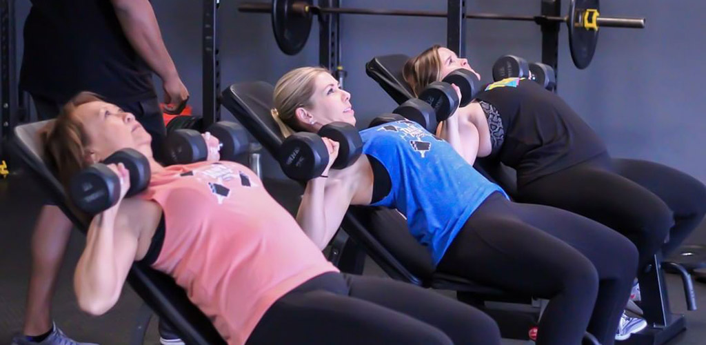 Women working out with weights at Train Insane Gym