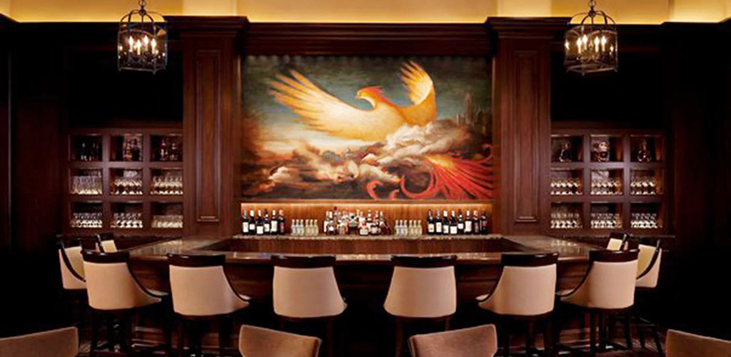 The elegant phoenix mural at St. Regis Bar at the St. Regis Hotel