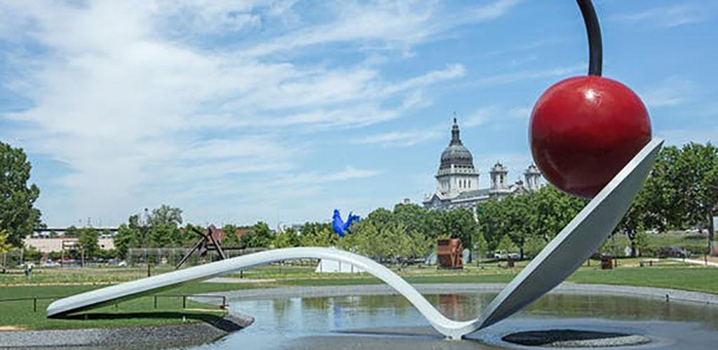 Modern art in front of Walker Art Center