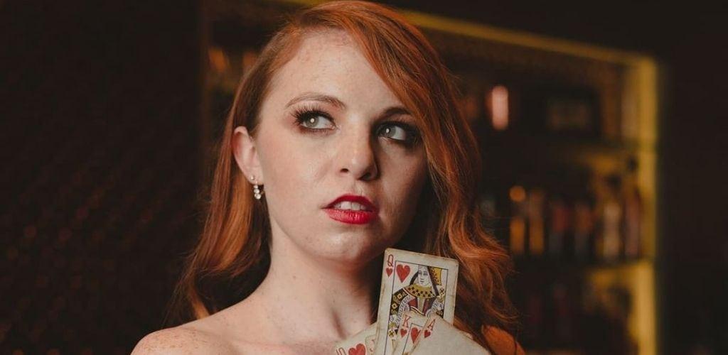 A Las Vegas MILF holding cards at The Flirt Lounge f